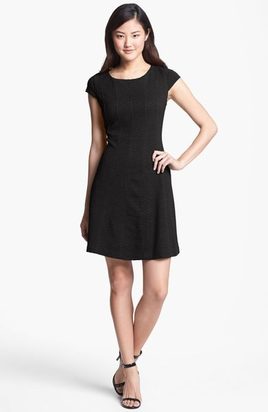 Taylor Dresses Cap Sleeve Fit Flare Dress In Black Lyst