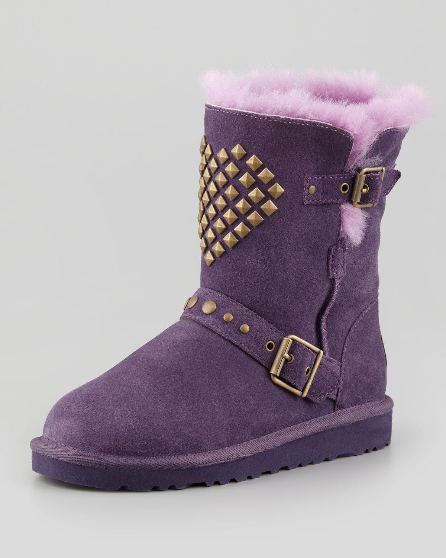 Lyst Ugg Adrianna Studded Heart Boot Purple Velvet In Purple