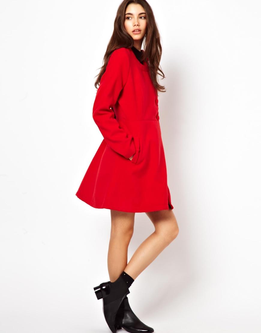 Dolce &amp gabbana Yumi Collarless Coat in Red | Lyst