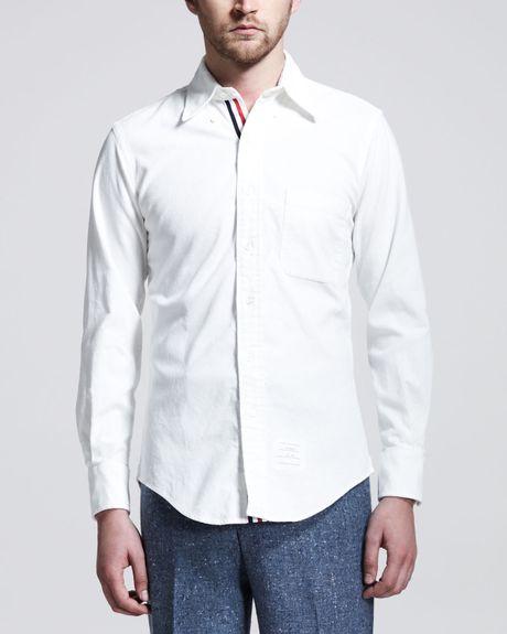Thom browne longsleeve corduroy shirt white in white for for Thom browne white shirt