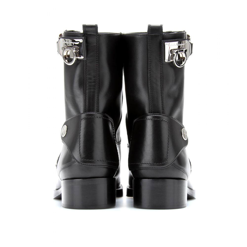 Salvatore Ferragamo Leather Biker Boots v5YTx