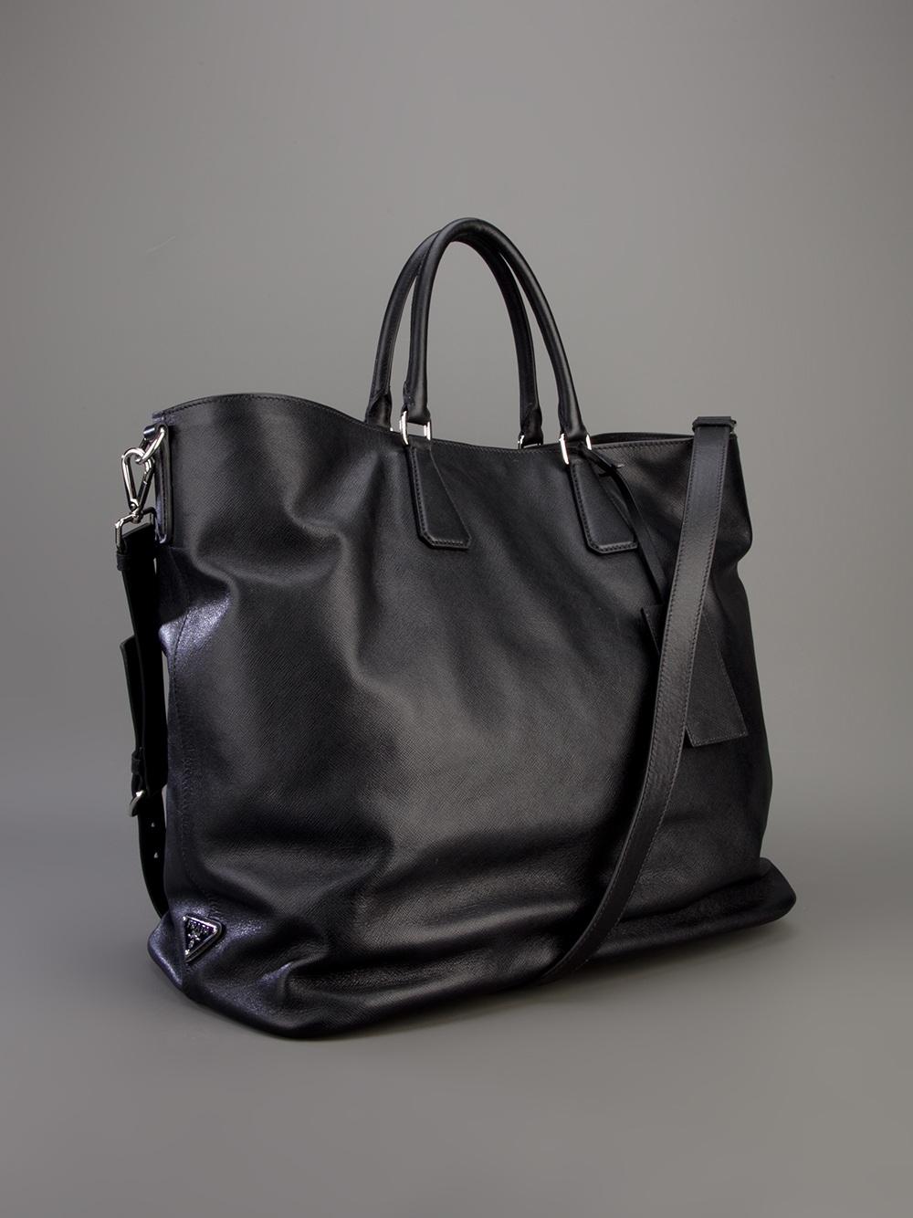 c52cf11ff460 ... discount prada tote bag in black for men lyst 9f638 8963e