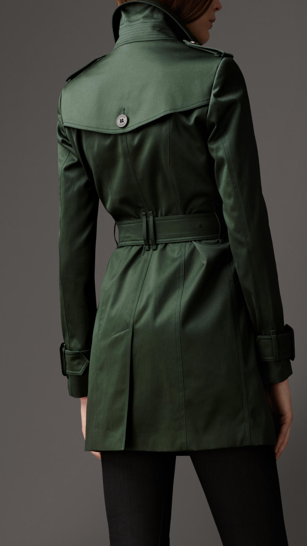 Lyst Burberry Mid Length Cotton Sateen Trench Coat In Green