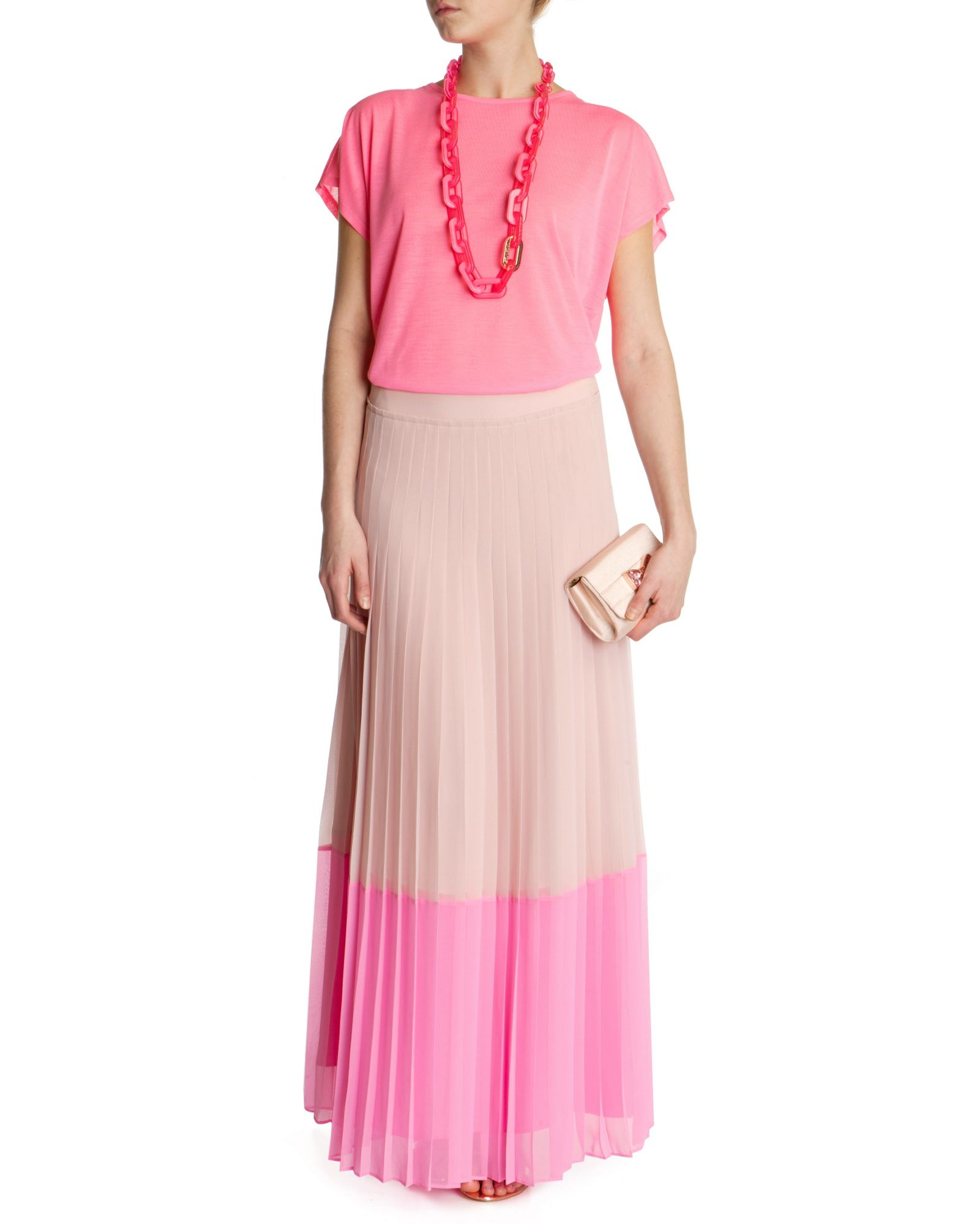 ted baker petrus colour block maxi skirt in pink lyst. Black Bedroom Furniture Sets. Home Design Ideas