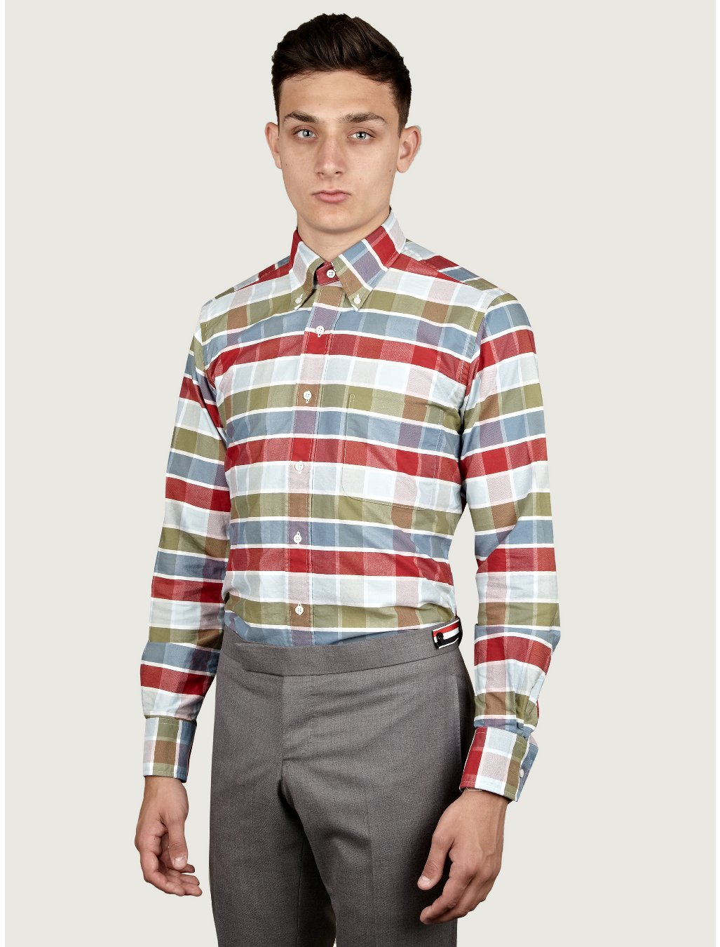 Thom browne mens buffalo check oxford shirt in blue for for Thom browne shirt sale