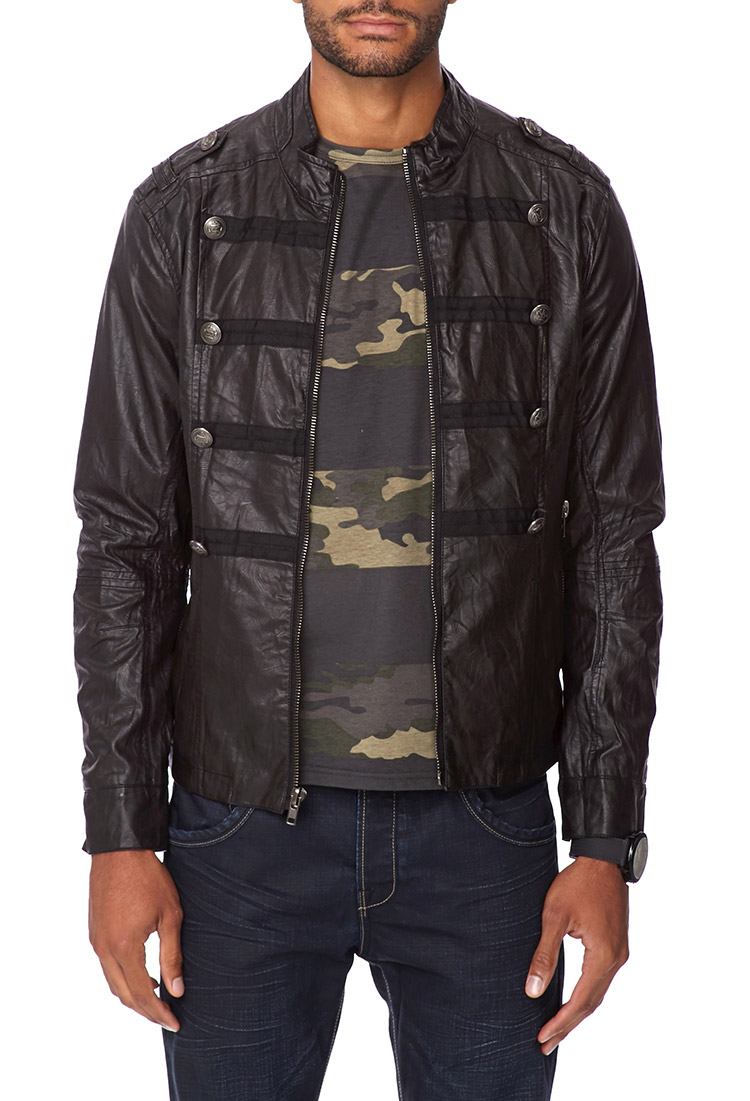 Faux leather military jacket