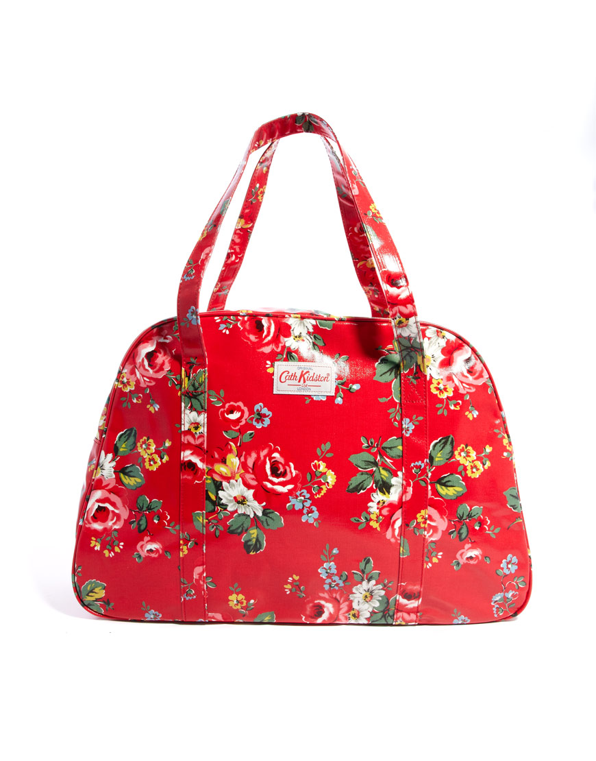 lyst cath kidston large zip top weekend bag in red. Black Bedroom Furniture Sets. Home Design Ideas
