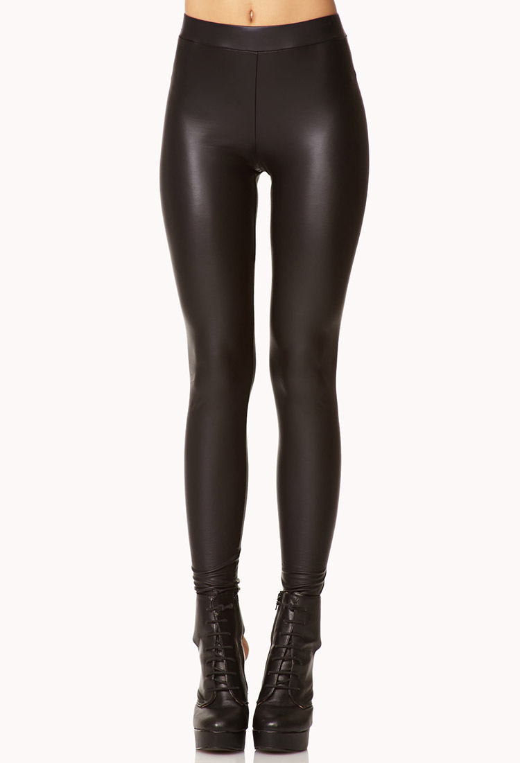 Forever 21 Faux Leather Leggings in Black