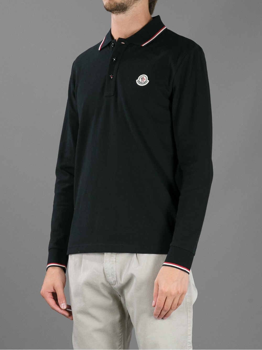 0784a3c4187c Moncler Long Sleeve Polo Shirt in Black for Men - Lyst