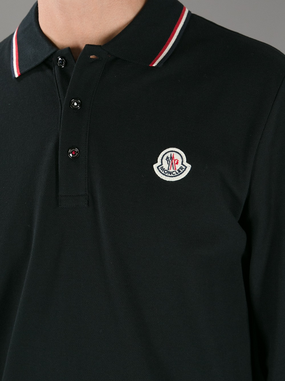6c31b8407 Lyst - Moncler Long Sleeve Polo Shirt in Black for Men