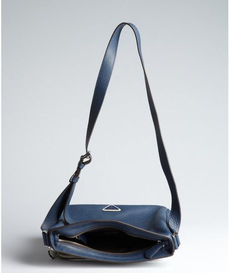 Prada Blue and White Colorblock Leather Shoulder Bag in White (blue)
