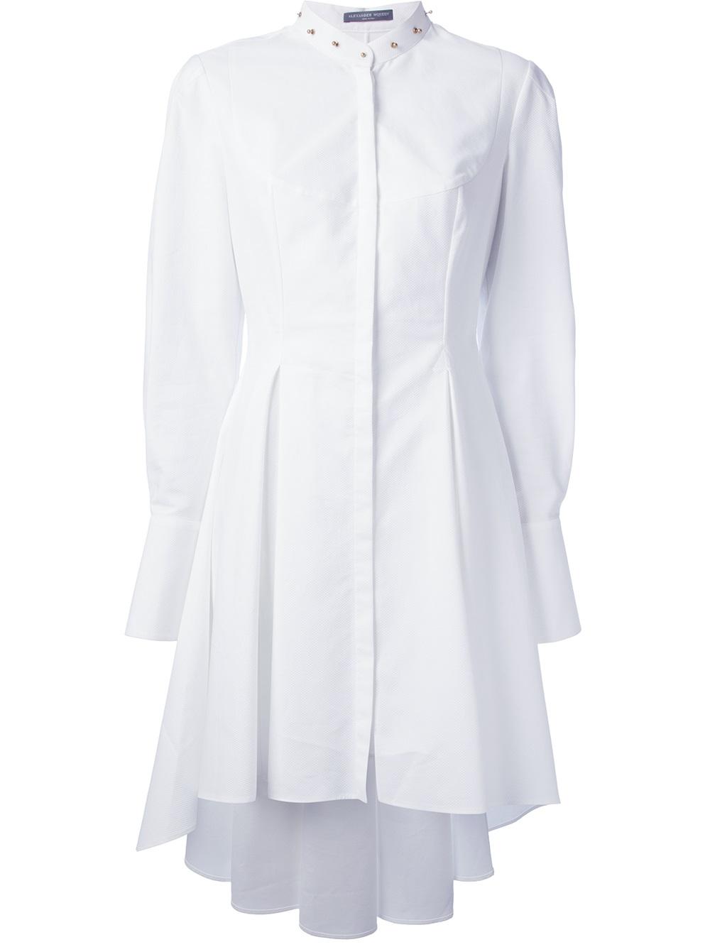 Alexander Mcqueen Studded Collar Shirt Dress In White Lyst