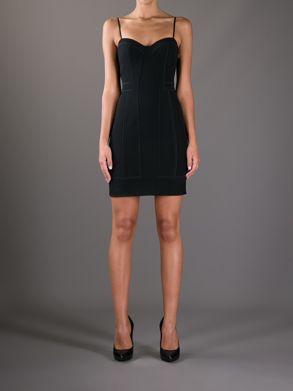 Lyst Alexander Wang Fitted Spaghetti Strap Dress In Black