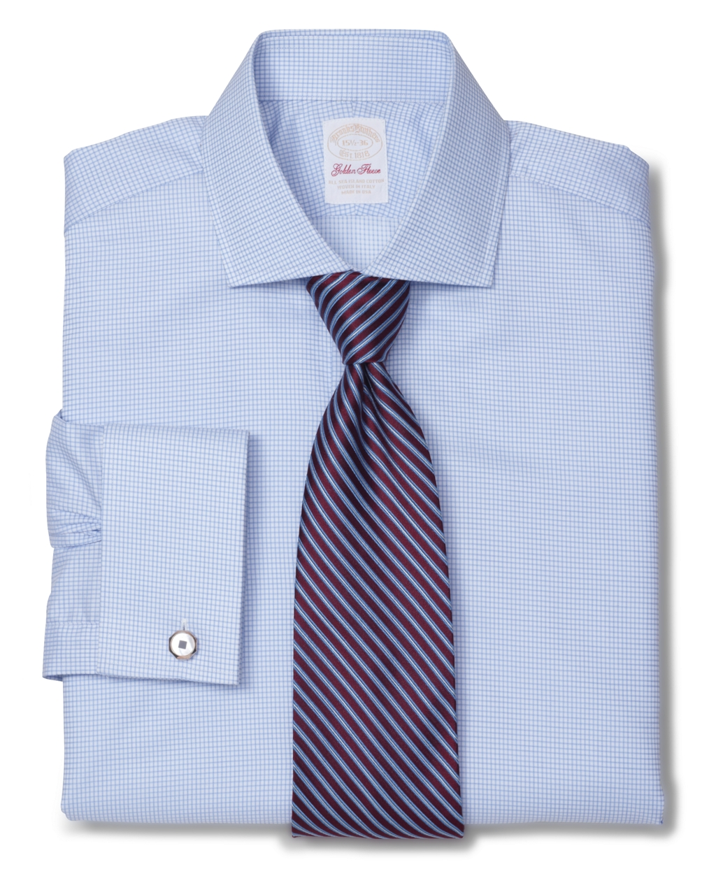 Brooks brothers golden fleece madison fit micro check for Light blue french cuff dress shirt