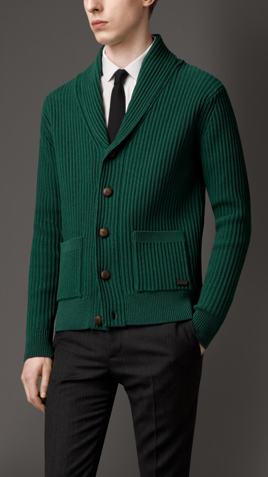 Burberry Knitted Cotton Blend Cardigan Jacket in Green for Men | Lyst