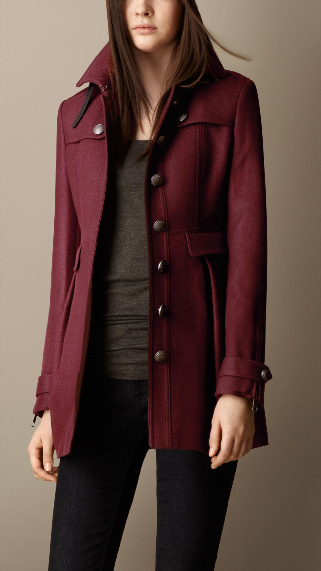 Burberry Fitted Military Coat in Red | Lyst