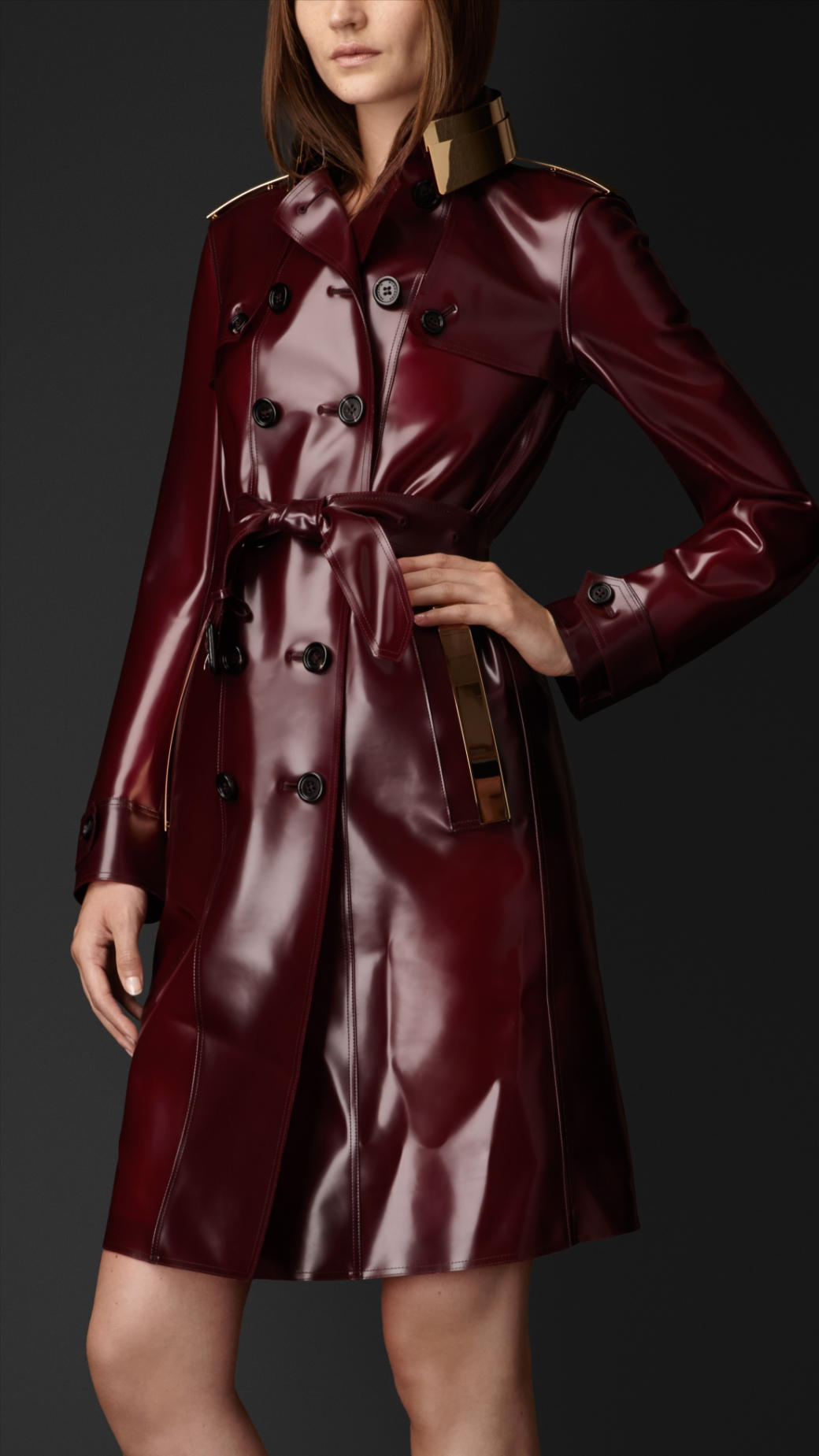 Lyst Burberry Metal Plate Rubber Trench Coat In Red