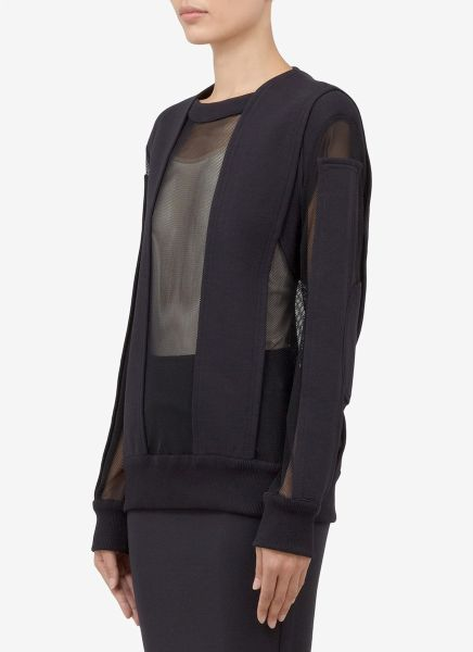 givenchy mesh panel pullover in black lyst. Black Bedroom Furniture Sets. Home Design Ideas