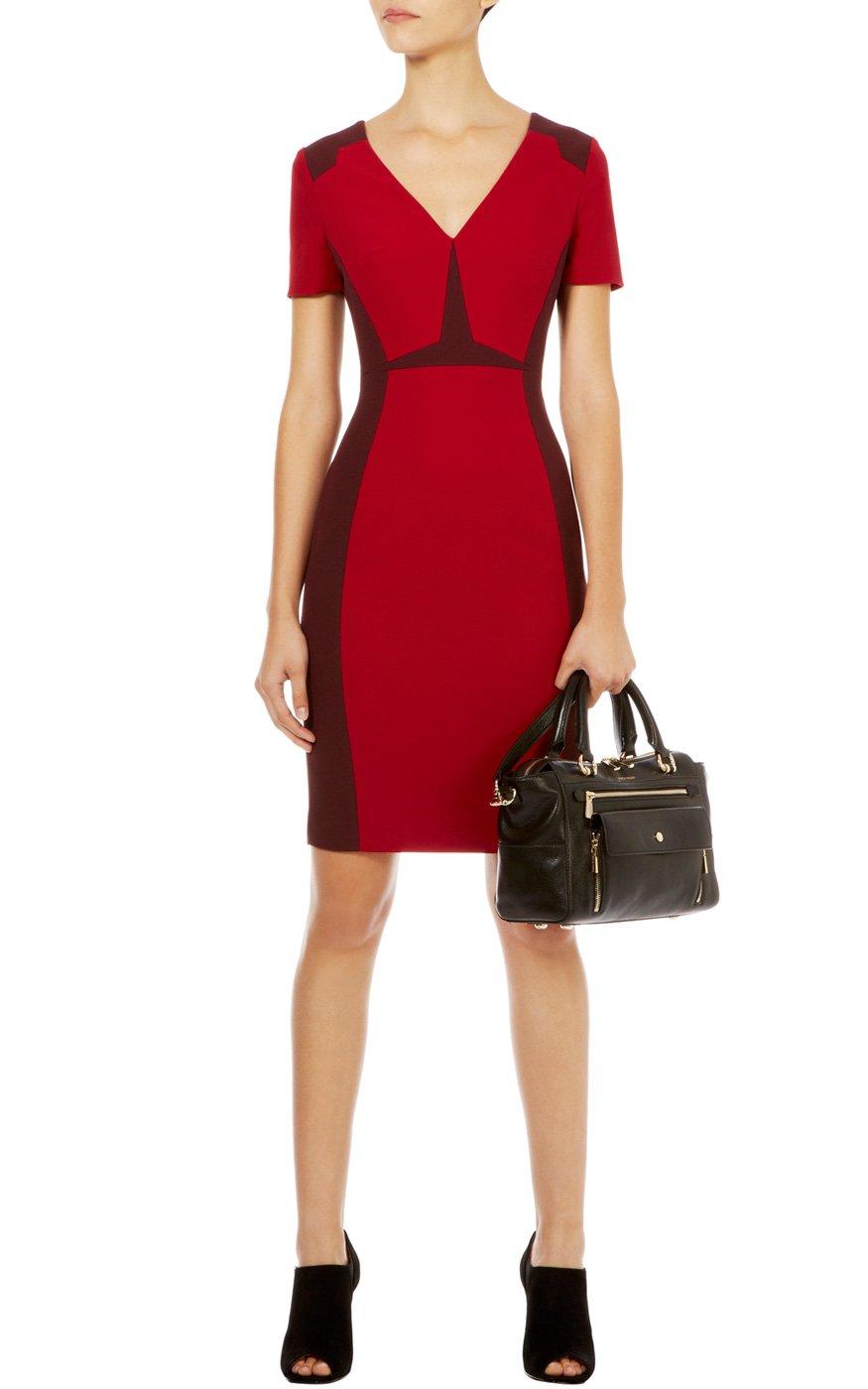 Karen millen graphic colorblock dress in red lyst
