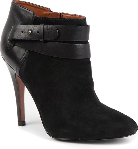 nine west brettly suede ankle boots in black brown lyst