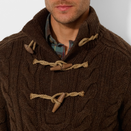 Lyst Polo Ralph Lauren Toggle Mockneck Sweater In Brown