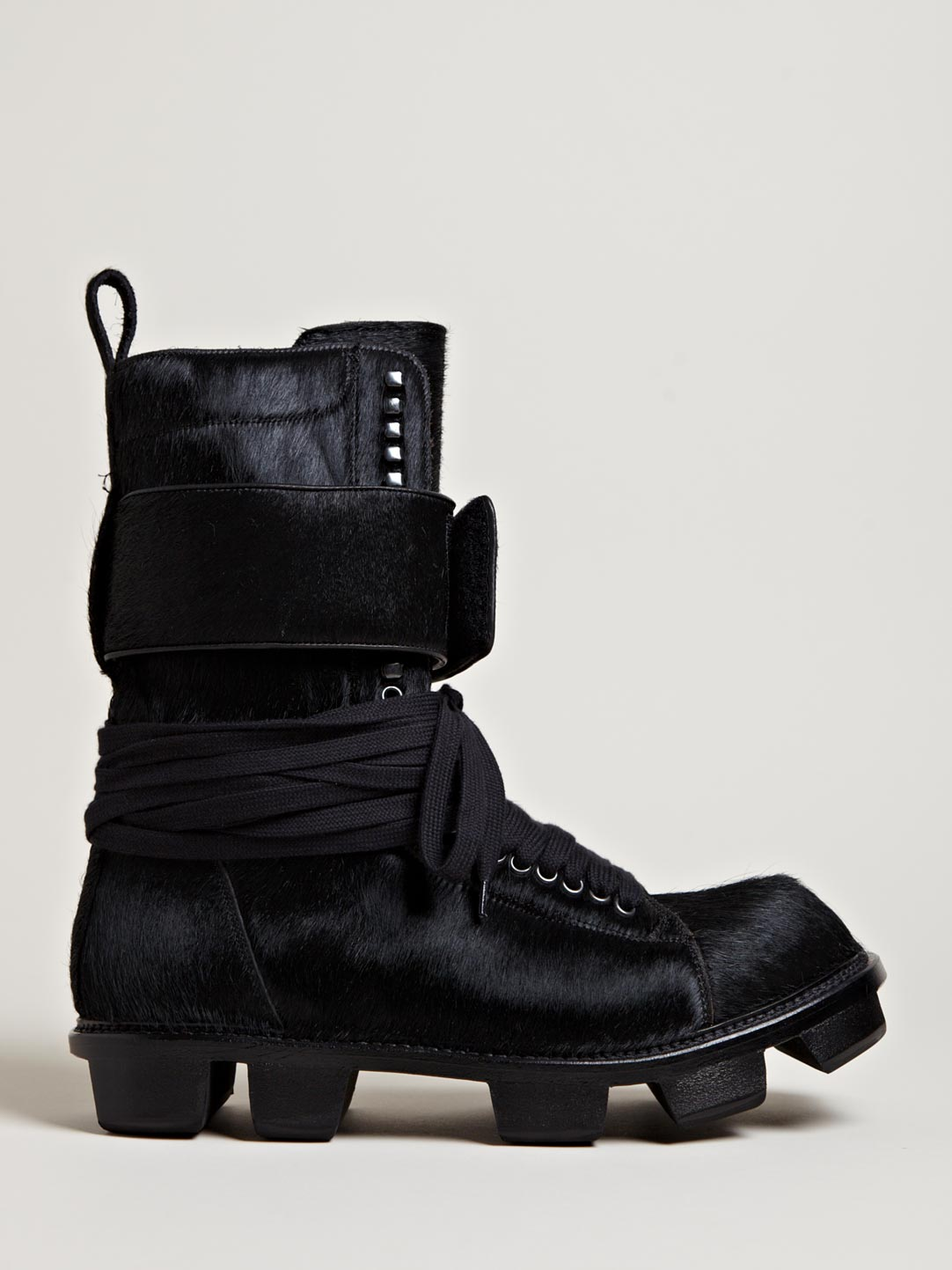 rick owens mens pony skin plinth boots in black for lyst