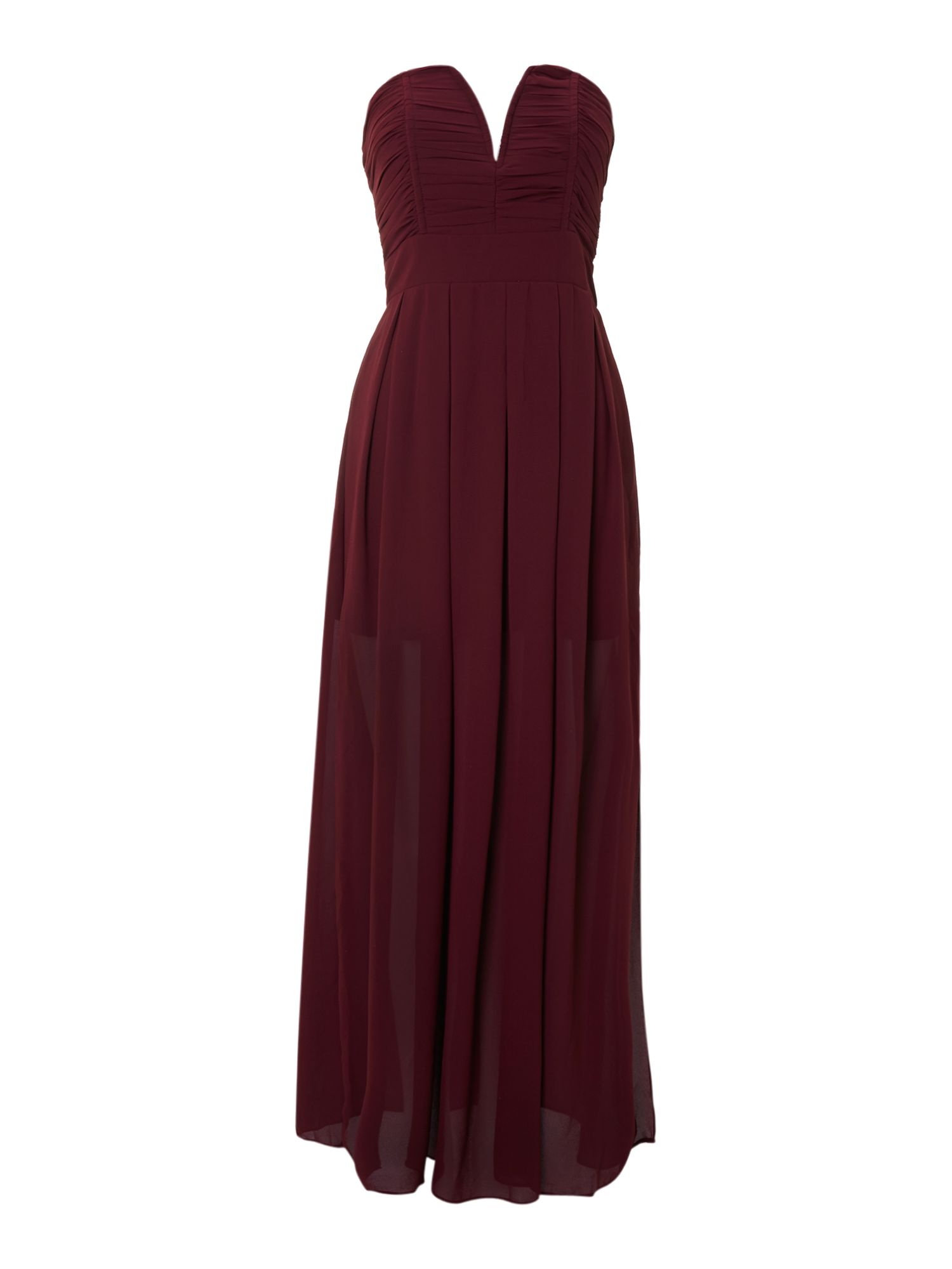 Tfnc Strapless Maxi Dress in Red (Blood Red) | Lyst