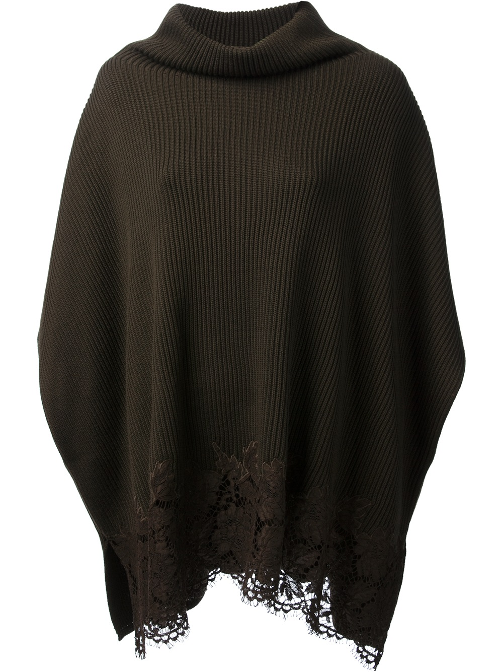 Knitting Ponchos : Valentino knit poncho top in brown lyst