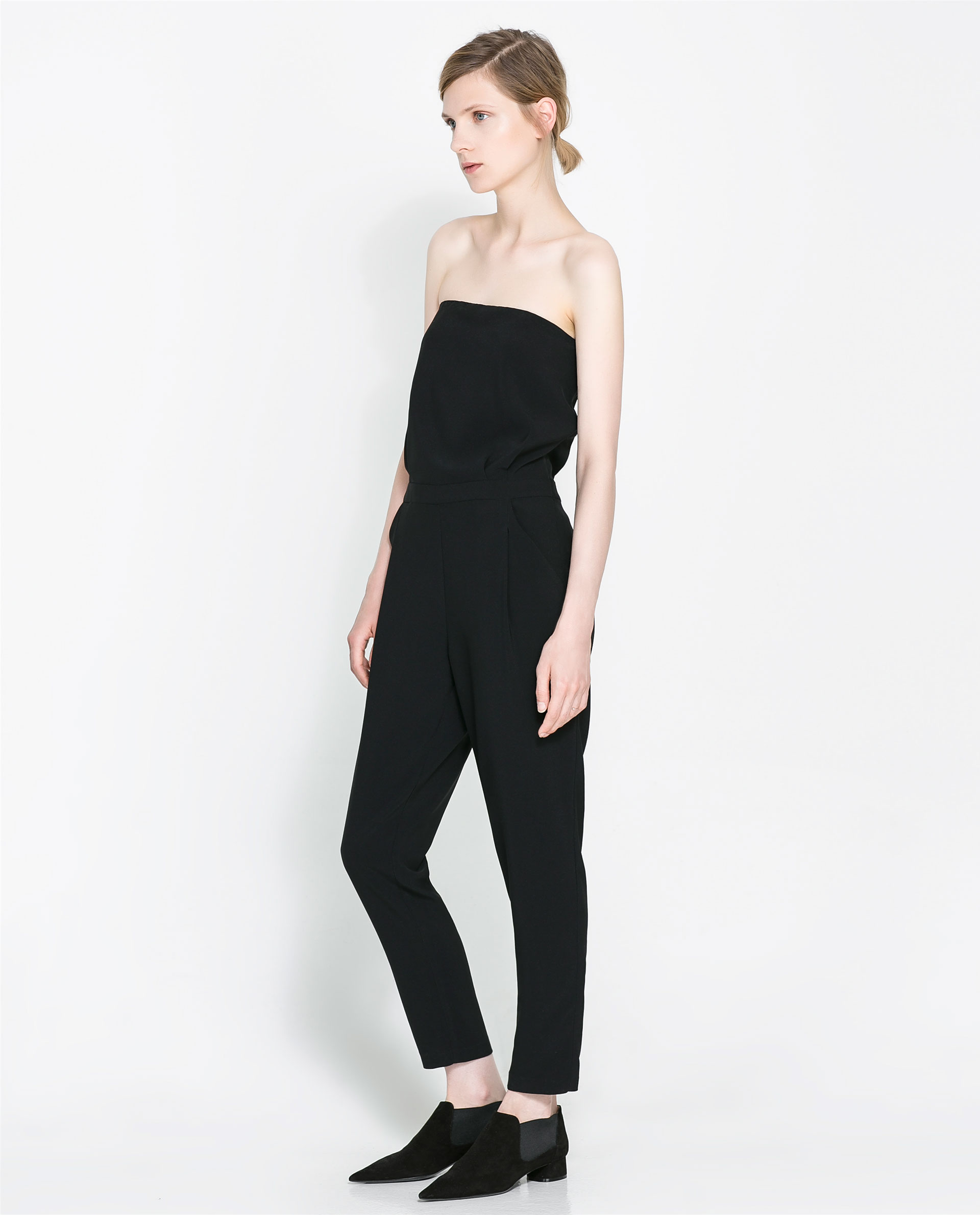 Lastest Zara Jumpsuit With Lace Yoke In Black  Lyst