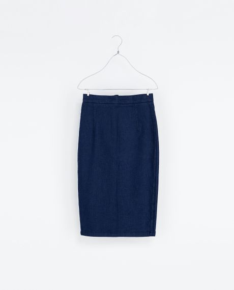 zara denim pencil skirt in blue lyst