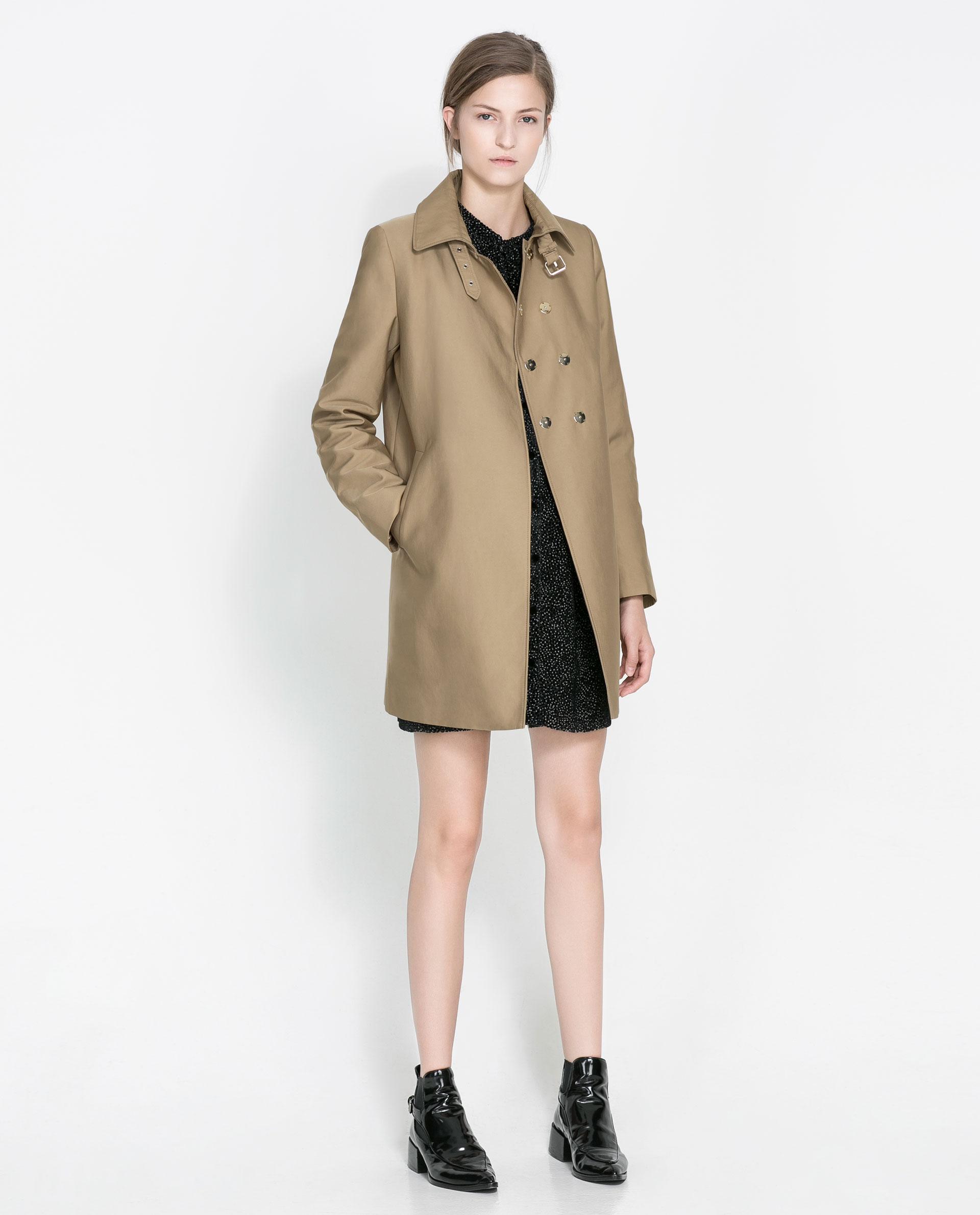 Zara Cotton Trench Coat In Brown Lyst