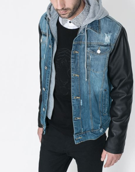 Jean jacket with leather sleeves for men