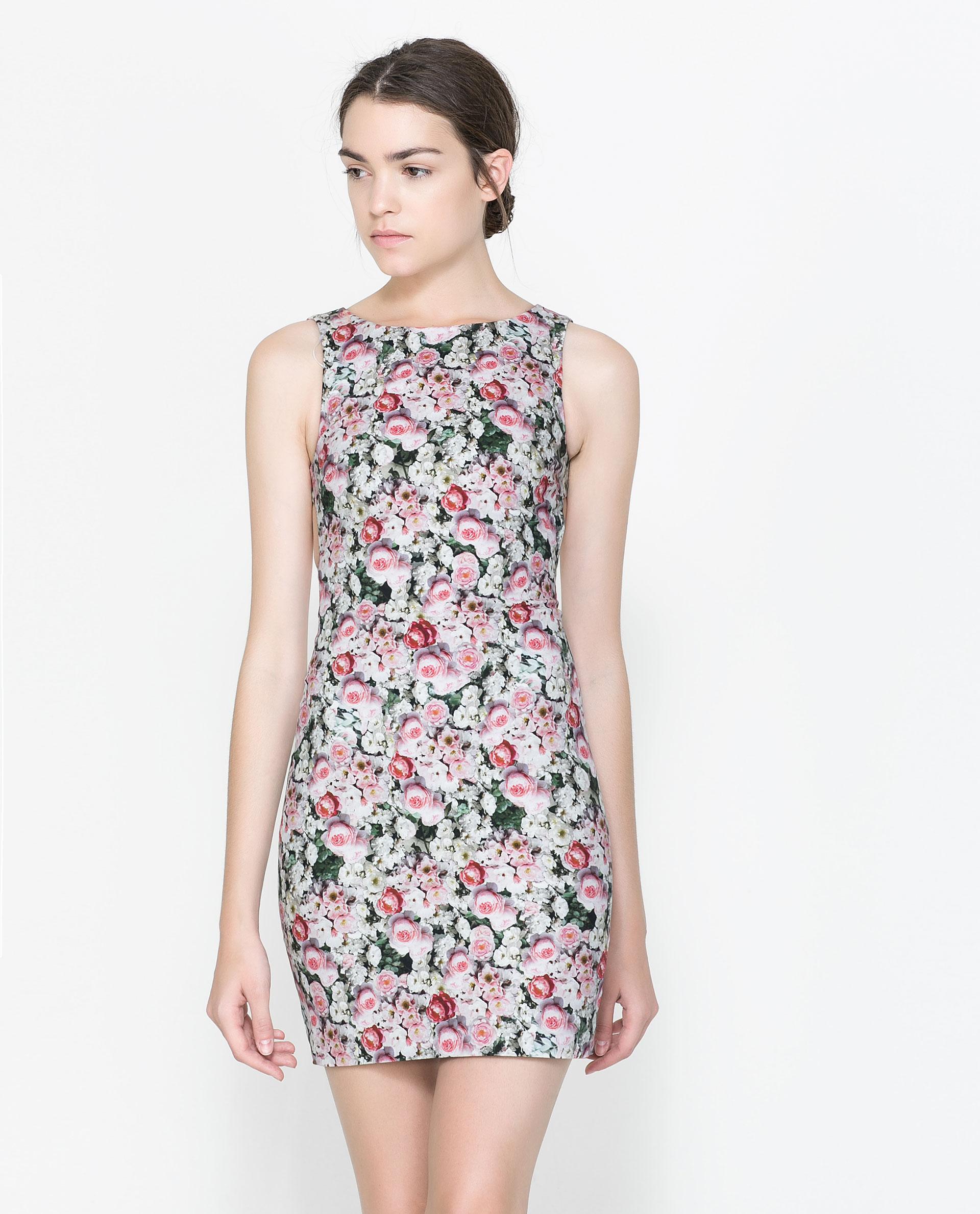 Zara Floral Tube Dress Lyst
