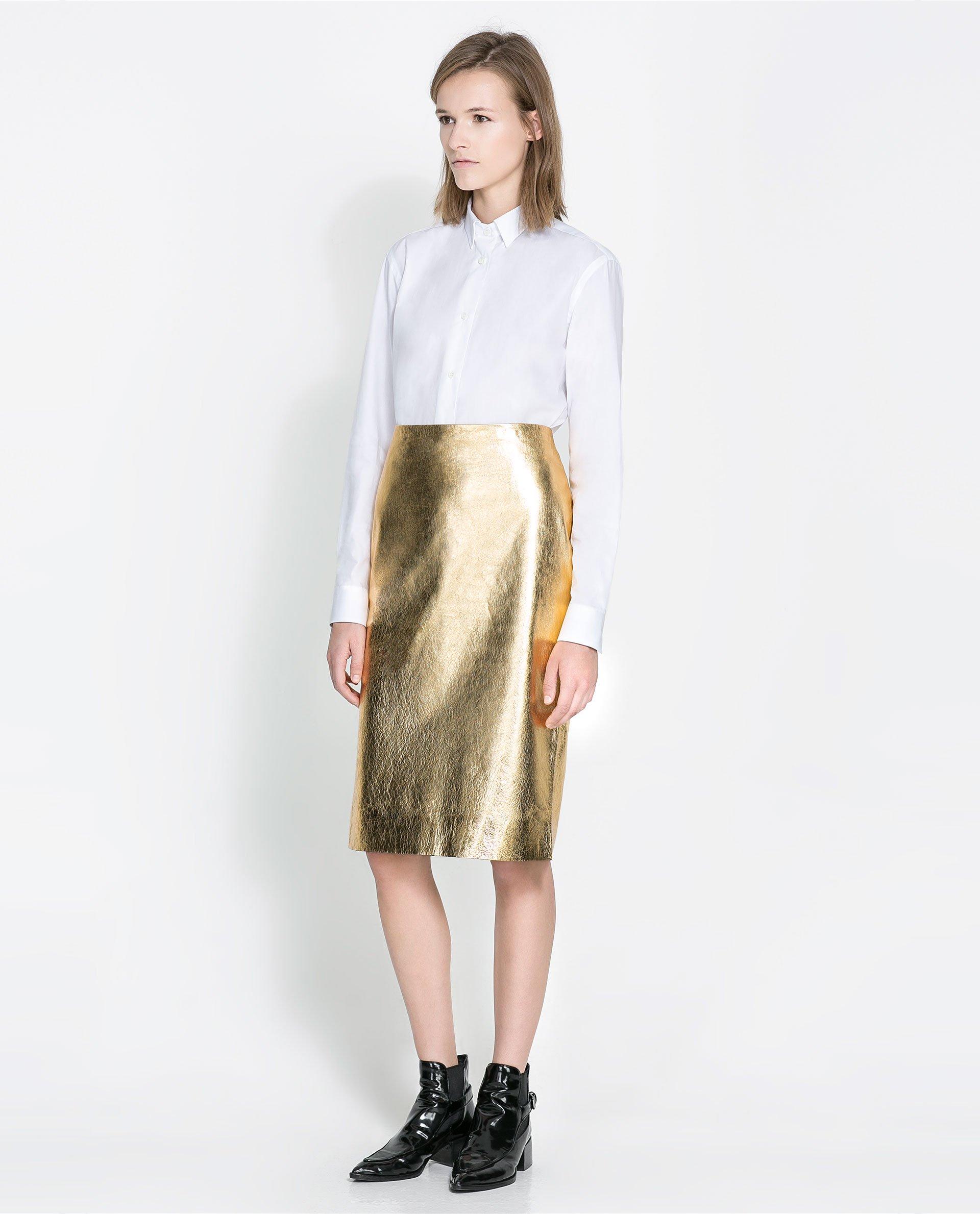 Zara Metallic Leather Skirt in Metallic | Lyst