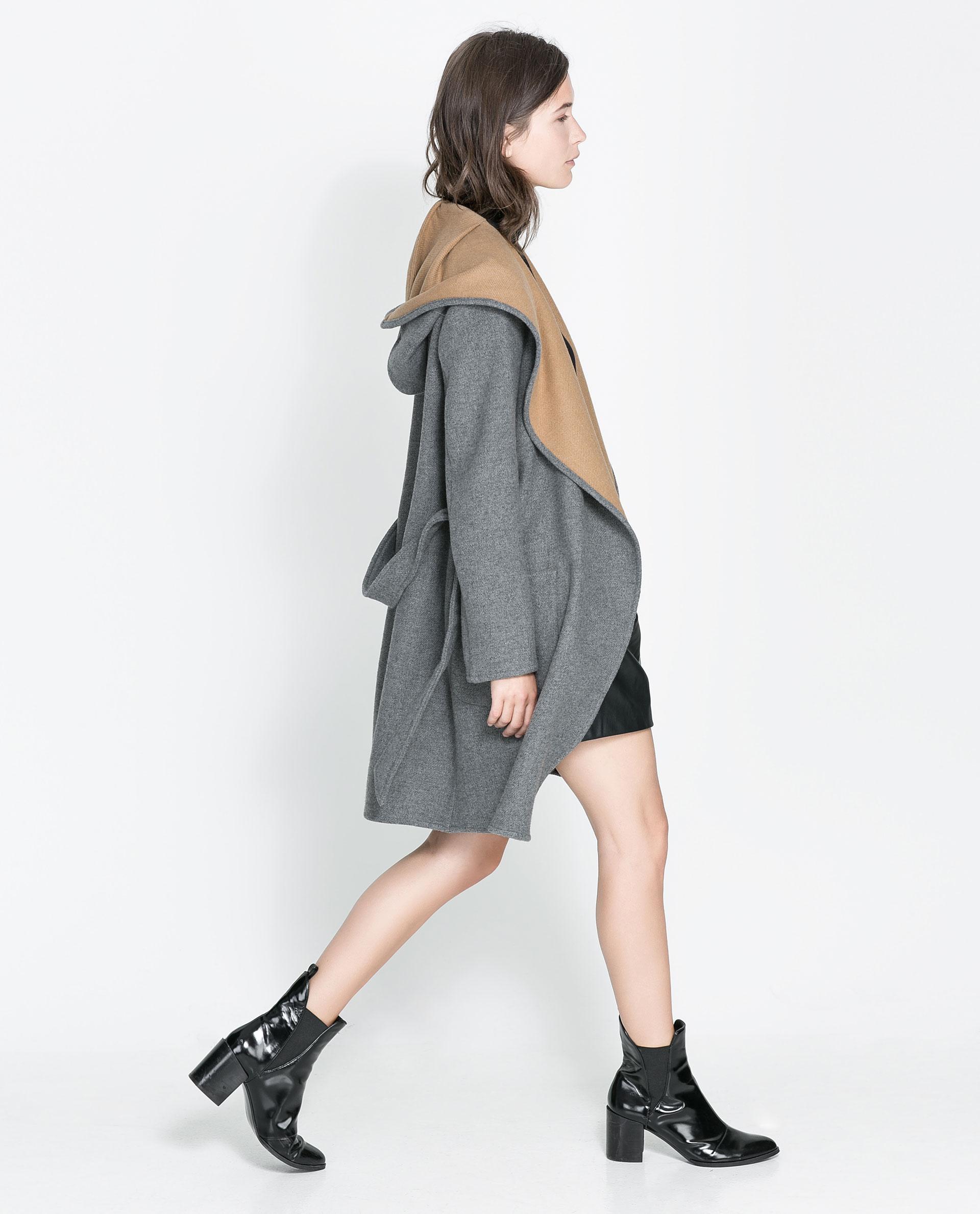 Zara Hooded Wool Coat in Gray | Lyst
