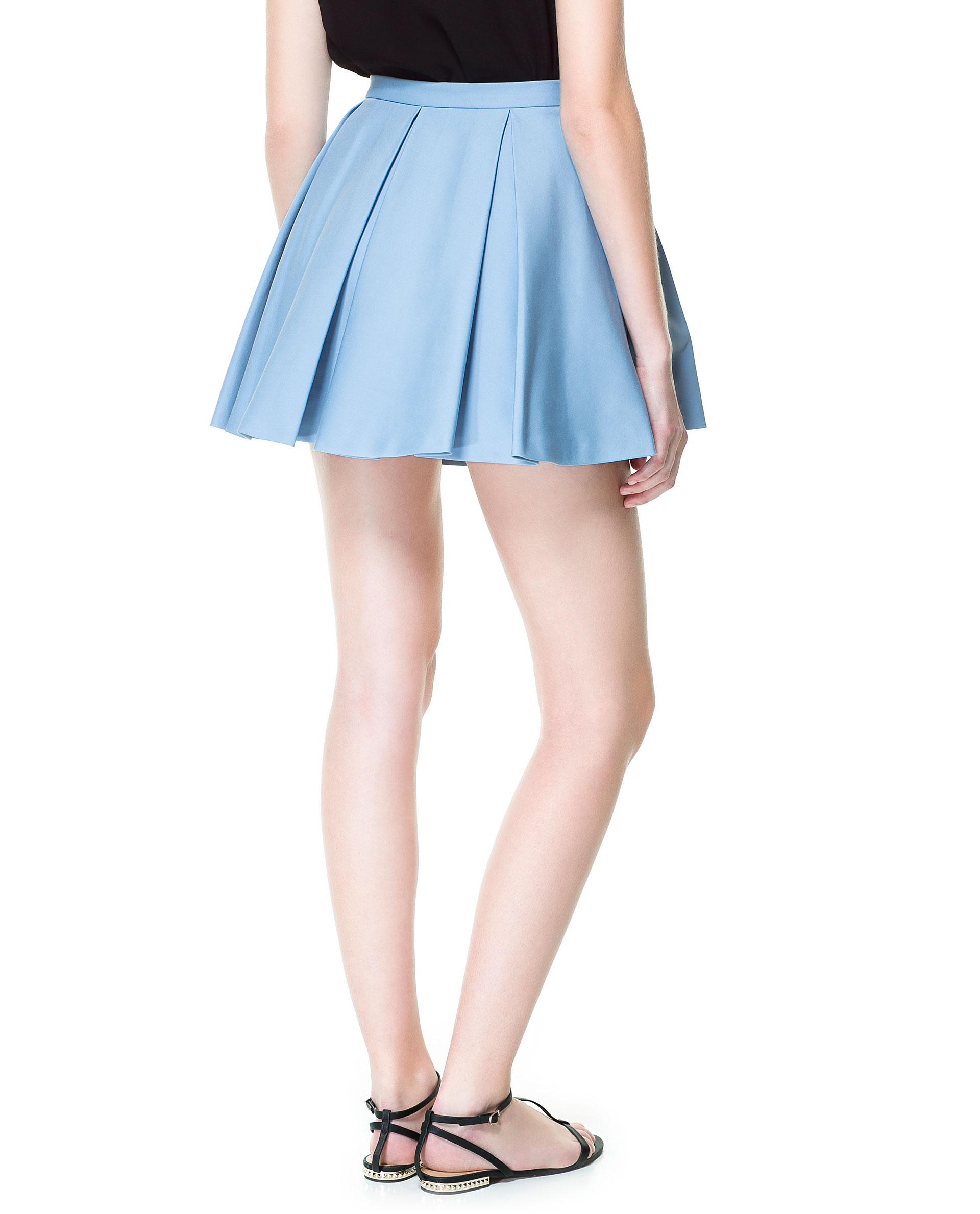 zara pleated mini skirt in blue lyst