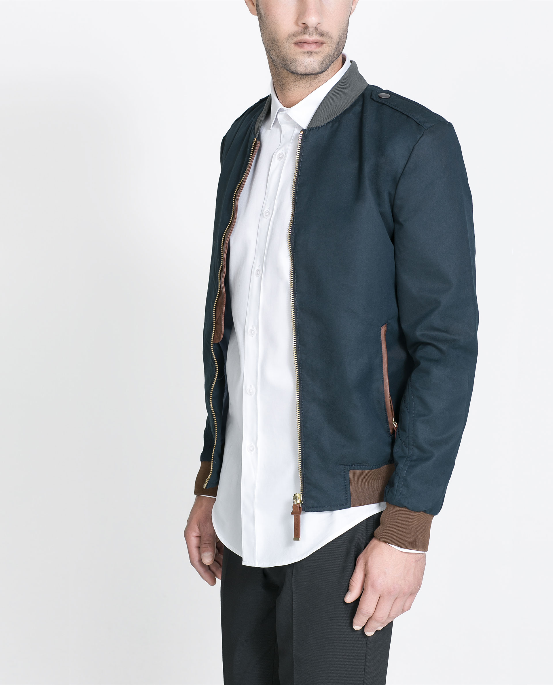 Zara Combination Bomber Jacket In Blue For Men | Lyst