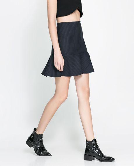 zara pinstripe mini skirt in blue navy blue lyst