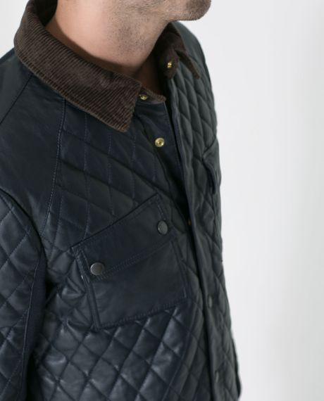 Zara Quilted Jacket With Corduroy Collar In Blue For Men