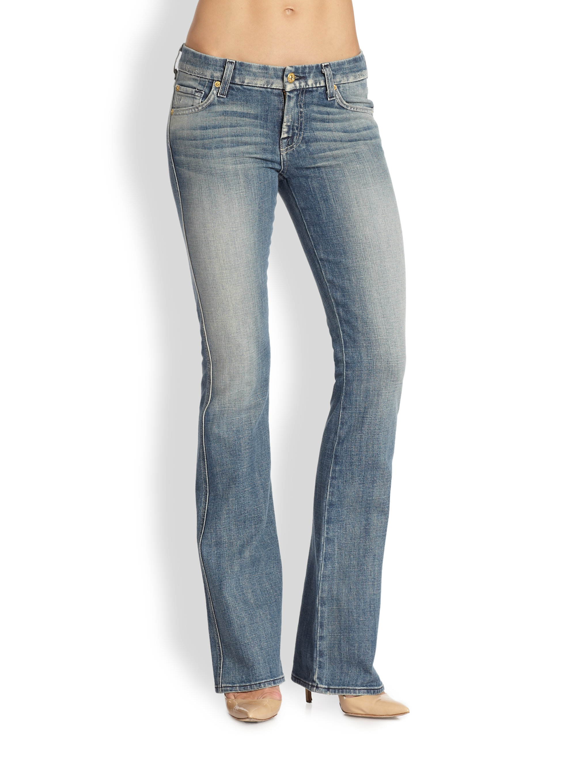 7 for all mankind Midrise Bootcut Jeans in Blue | Lyst