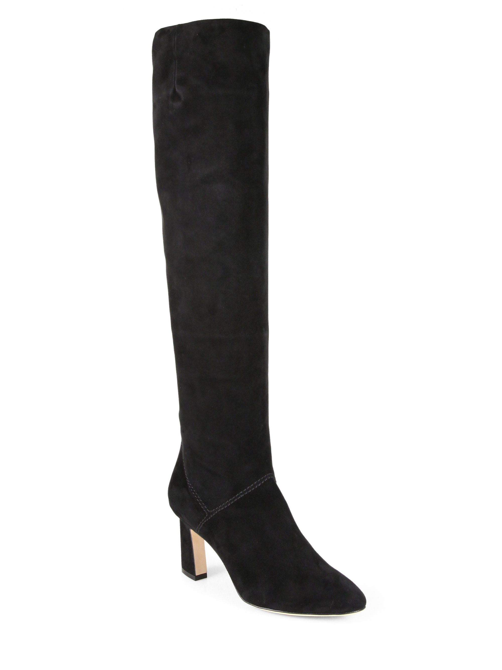 brian atwood isidora suede kneehigh boots in black lyst