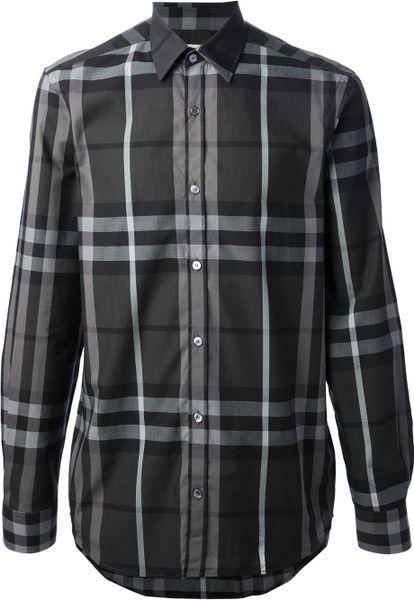 2013 Mens Long Sleeve Shirts Burberry Stripe Checks Brown