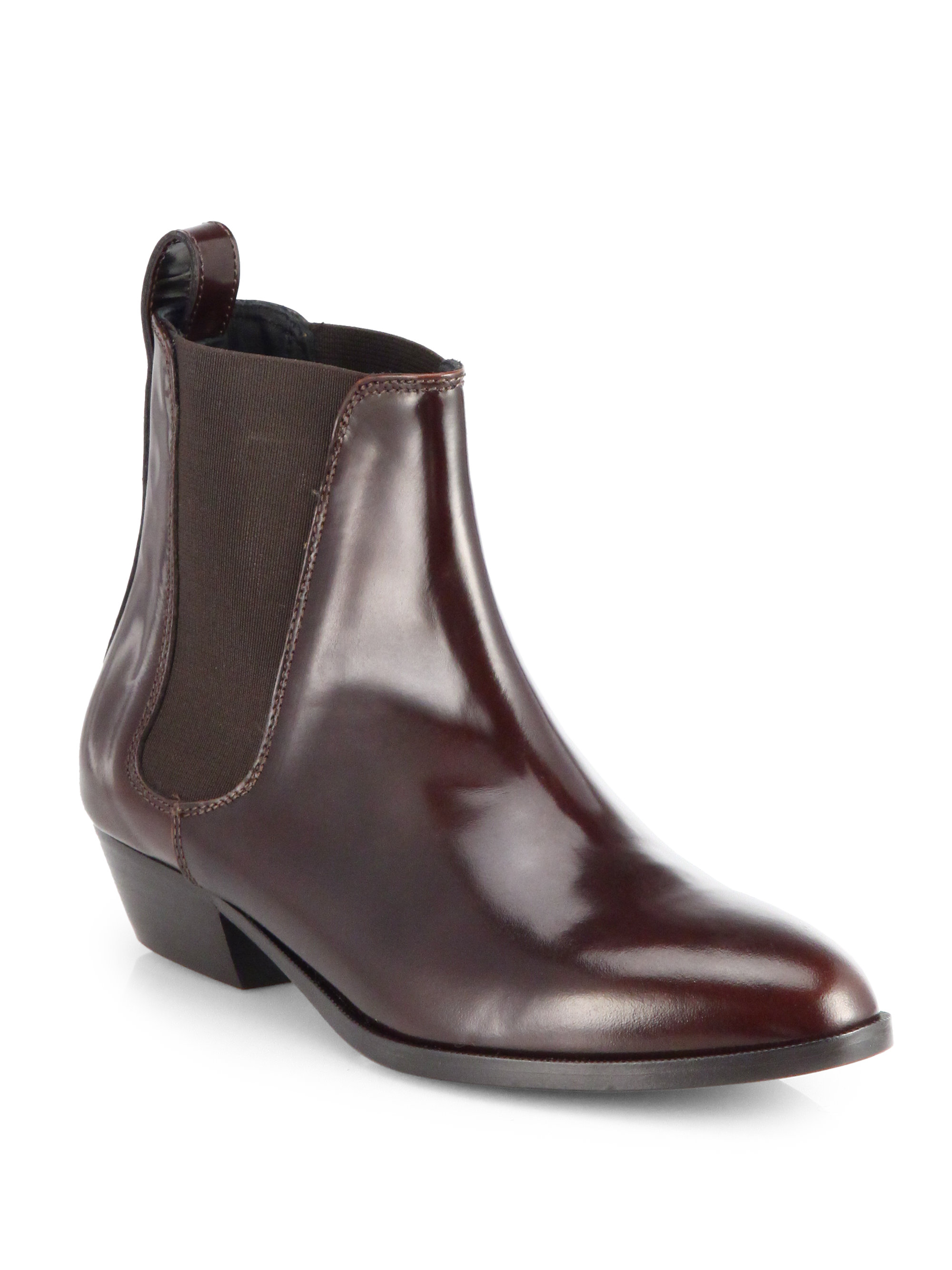 burberry tallow leather chelsea boots in brown chestnut
