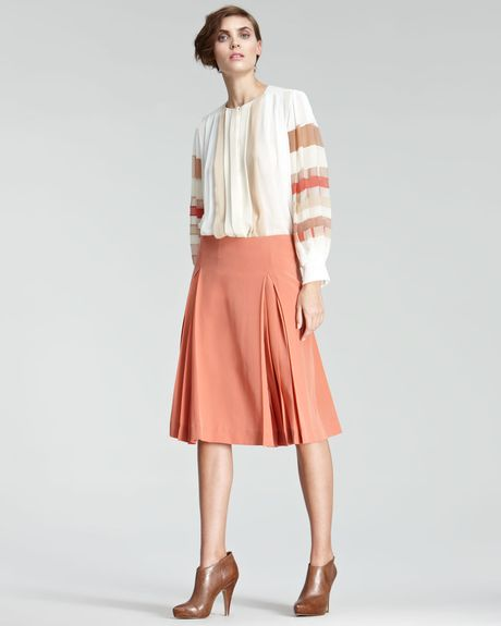 Chloé Crepe De Chine Aline Skirt in Red (latelier rose)