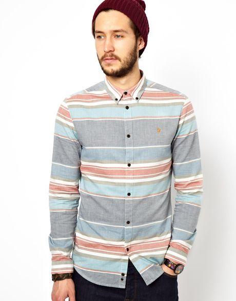 Supra farah vintage shirt with horizontal stripe in blue for Horizontal striped dress shirts men