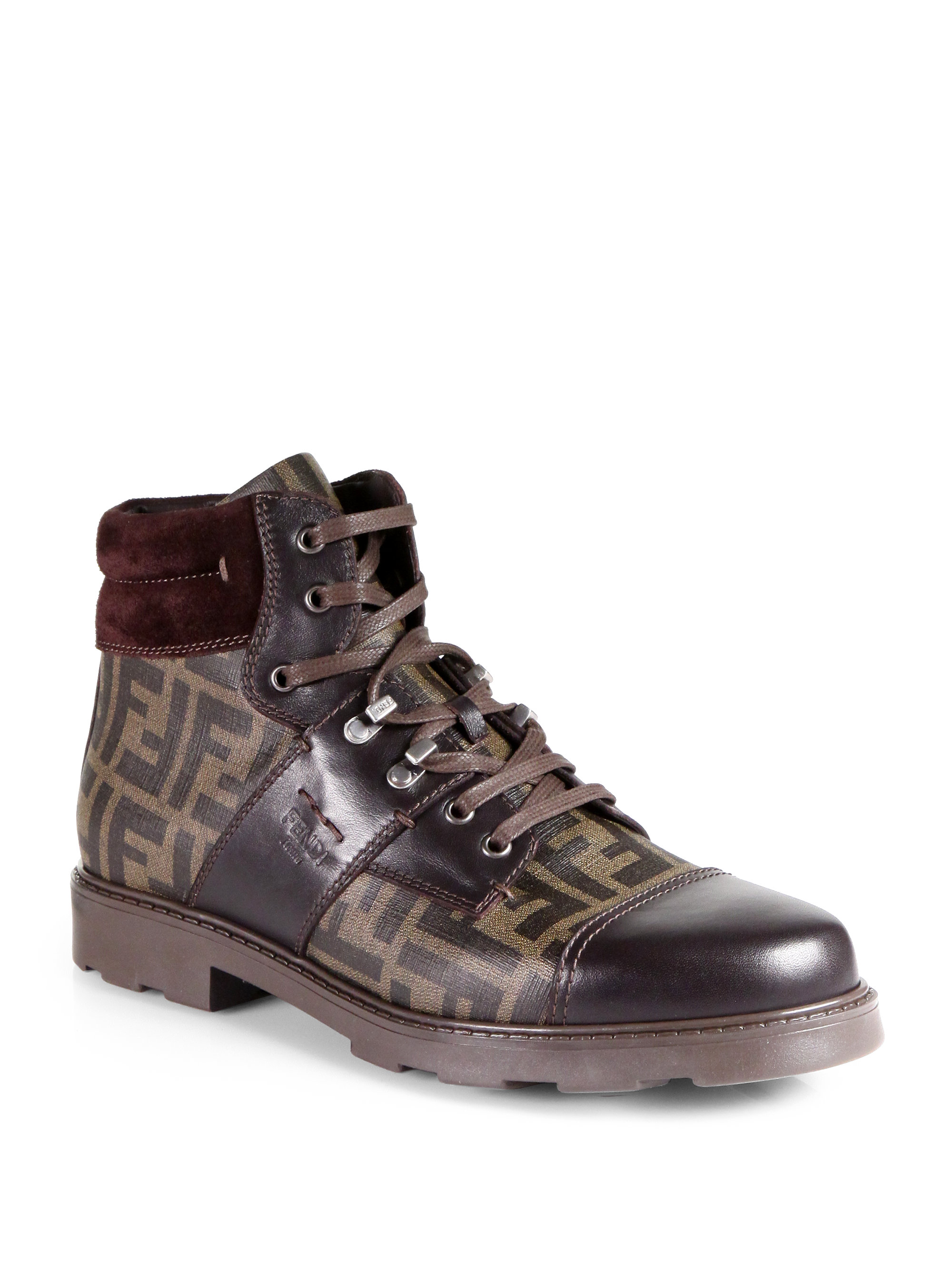 Lyst Fendi Zucca Laceup Boots In Brown For Men