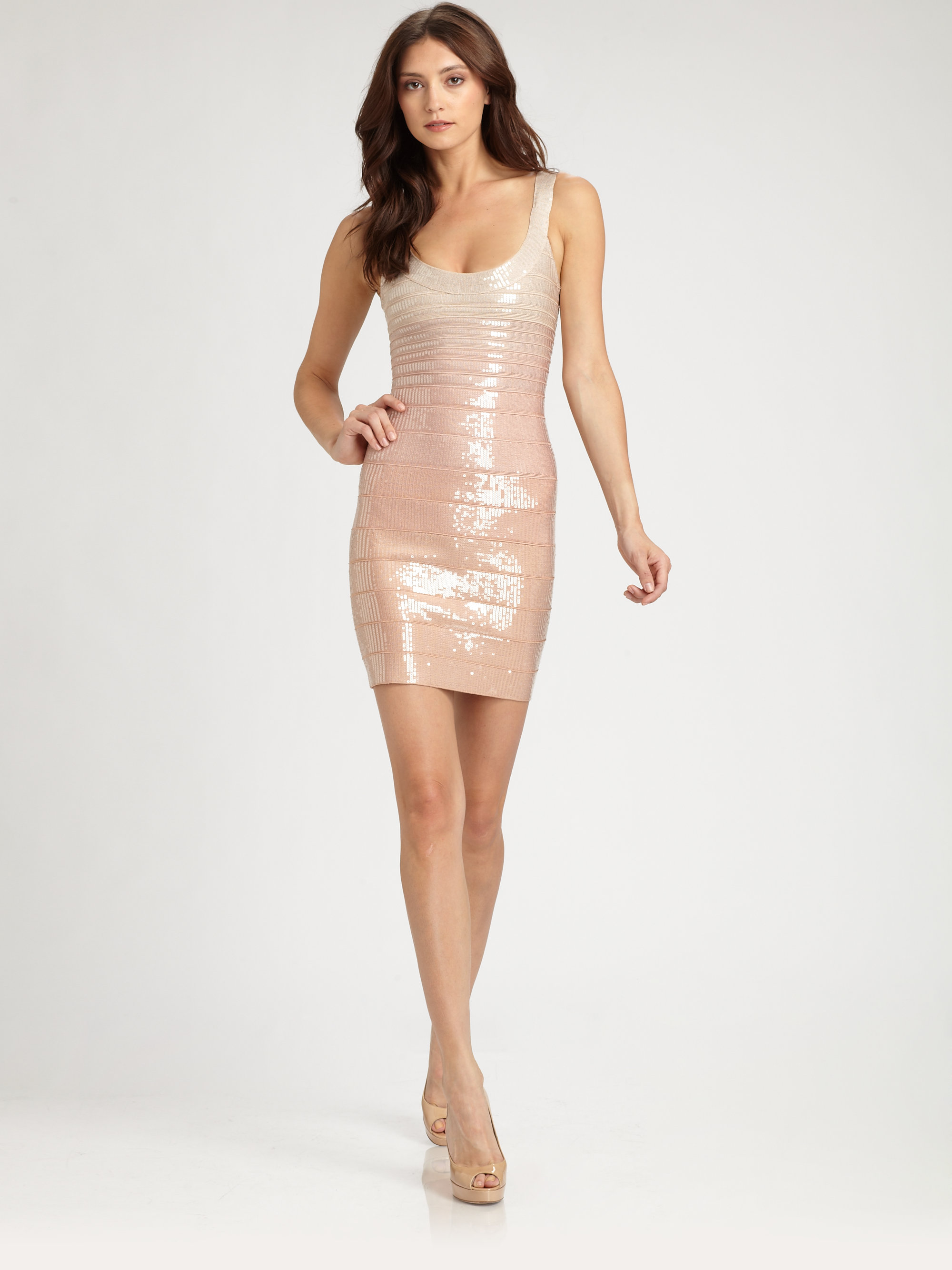 Fringed Metallic Bandage Dress - Blush H pHUNp