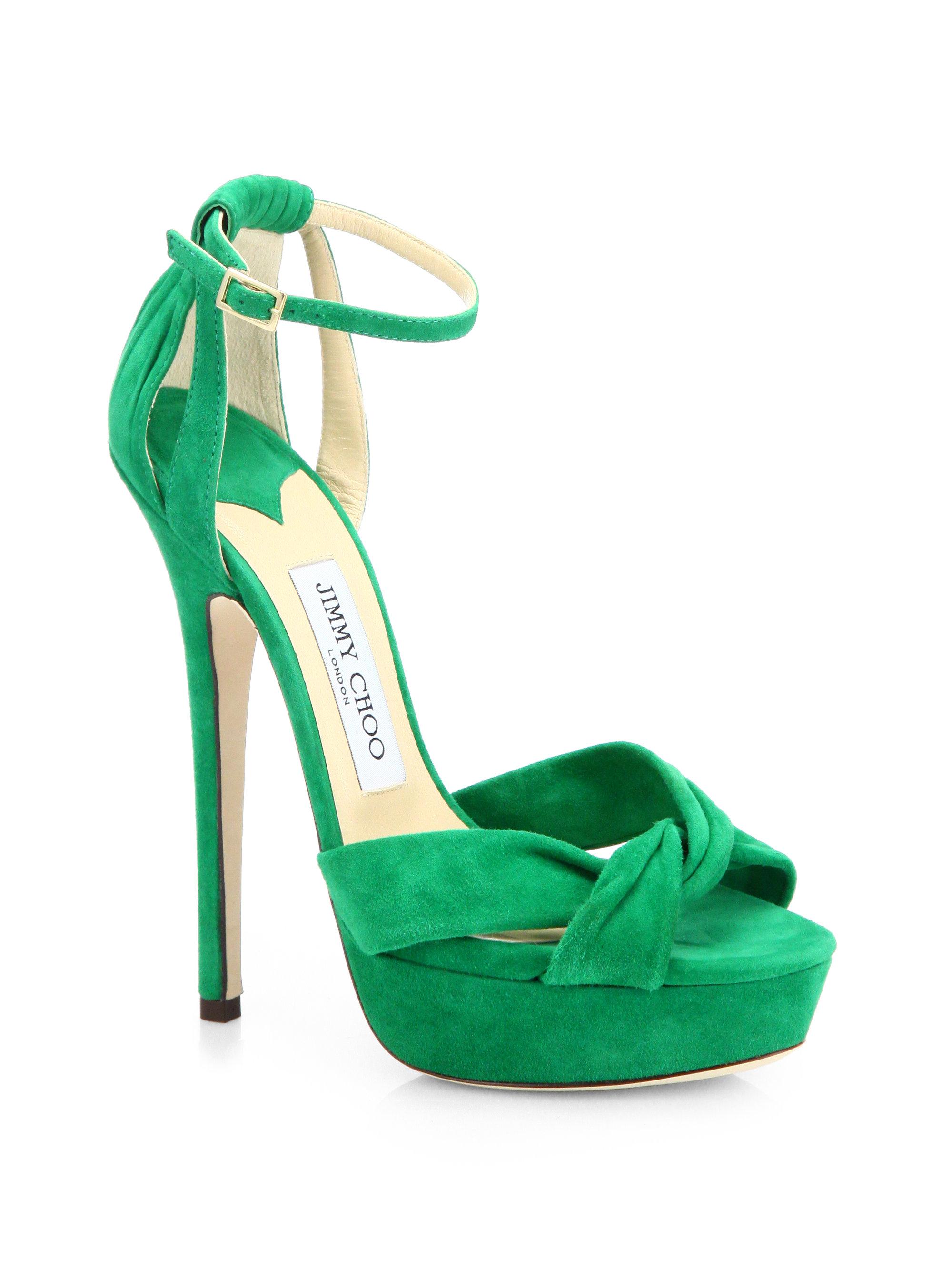 1905f595388 Lyst - Jimmy Choo Greta Suede Ankle Strap Platform Sandals in Green