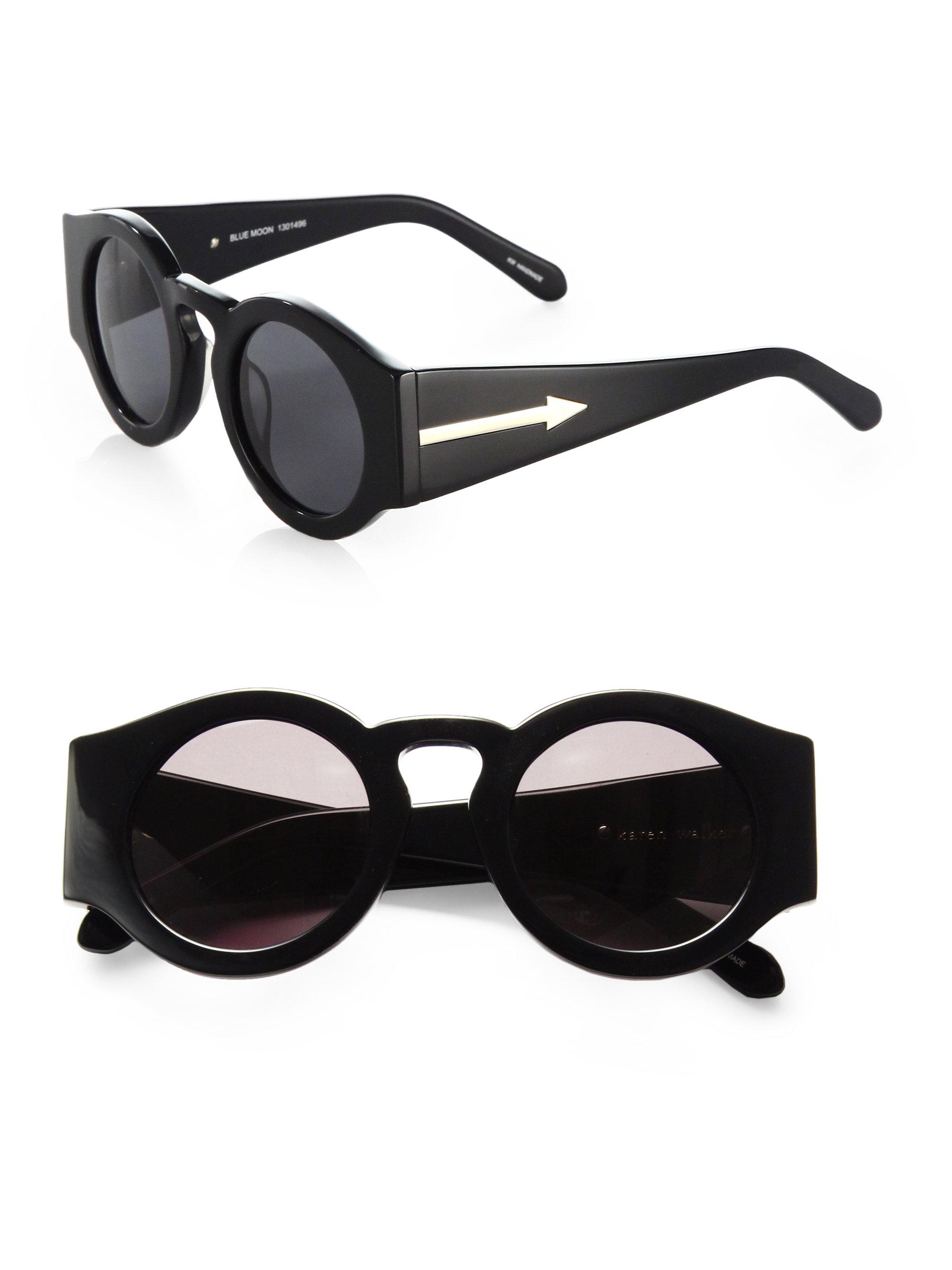 b81546e536d Lyst - Karen Walker Blue Moon Round Sunglasses in Black