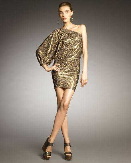 Lanvin Balloon-sleeve One-piece Swimdress in Gold (bronze)
